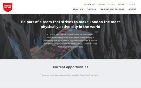 Screenshot of Jobs Page londonsport.org - Work for London Sport - captured July 17, 2016