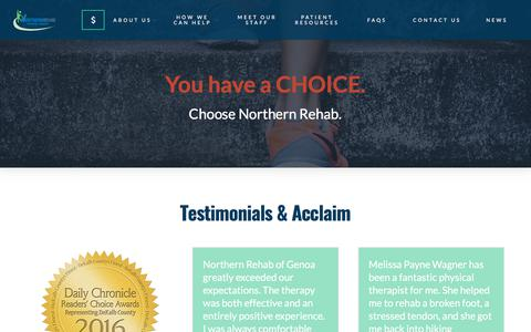 Screenshot of Testimonials Page northernrehabpt.com - Testimonials - Northern Rehabilitation Physical Therapy Specialists - captured Oct. 27, 2017