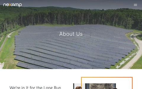 Screenshot of About Page nexamp.com - About Us | Nexamp - captured Feb. 22, 2019