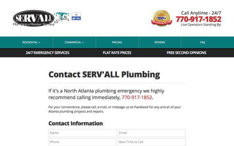 Screenshot of Contact Page servallplumbing.com - 770.917.1852   Contact SERV'ALL Plumbing   SERV'ALL Plumbing - captured Sept. 30, 2017