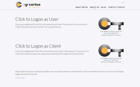 Screenshot of Login Page certus-inc.com - Log in | Certus Technology SystemCertus Technology System - captured July 18, 2014