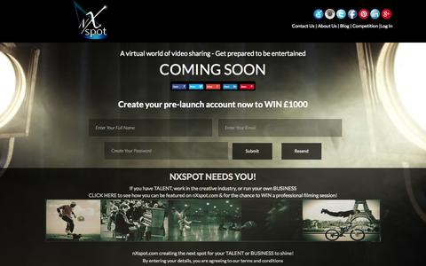 Screenshot of Home Page nxspot.com - COMING SOON - captured Sept. 30, 2014