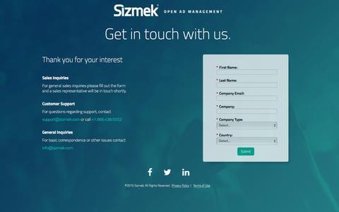Screenshot of Contact Page sizmek.com - Contact Us - captured Jan. 29, 2016