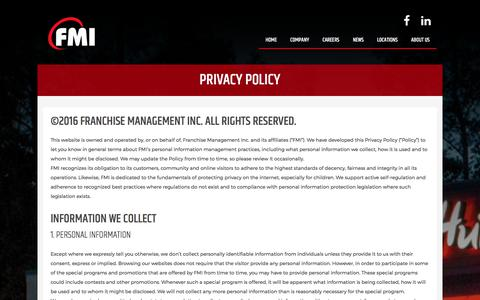 Screenshot of Privacy Page fmigroup.ca - Franchise Management Inc. Privacy Policy - captured Oct. 13, 2017