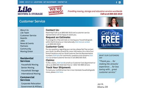 Screenshot of Support Page lile.com - Customer Service   Lile Moving & Storage - captured Jan. 17, 2016