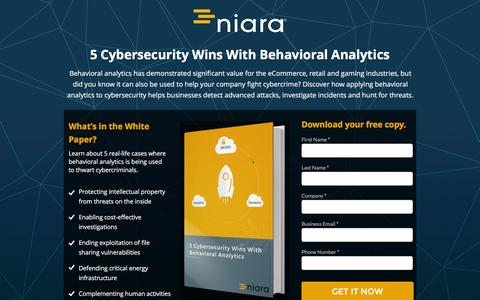Screenshot of Landing Page niara.com - 5 Cybersecurity Wins With Behavioral Analytics - captured July 14, 2016