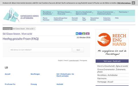 Screenshot of FAQ Page cathol.lu - Heefeg gestalte Froen (FAQ) - Service Kommunikatioun a Press - Bistum Lëtzebuerg - captured Nov. 10, 2018