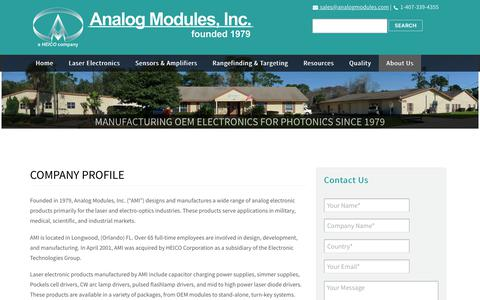Screenshot of About Page analogmodules.com - Analog Modules, Inc. | Specialists in Analog and Laser Electronics | Company Profile | AMI - captured Oct. 19, 2018
