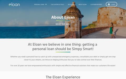 Screenshot of About Page eloan.com - About Eloan - Eloan - captured Aug. 10, 2019
