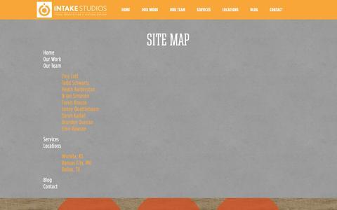 Screenshot of Site Map Page intakestudios.com - Site Map   Intake Studios - captured Oct. 6, 2014