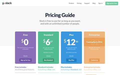 Screenshot of Pricing Page slack.com - Pricing | Slack - captured Nov. 7, 2015