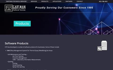 Screenshot of Products Page gartmantechnical.com - Gartman Technical Services - Products - captured Jan. 26, 2016