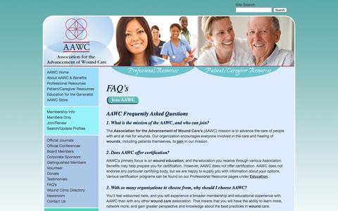 Screenshot of FAQ Page aawconline.org - Association for the Advancement of Wound Care Scholarship Program   Association For The Advancement Of Wound Care - captured Oct. 4, 2014