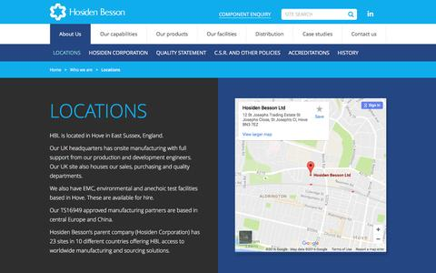Screenshot of Locations Page hbl.co.uk - Our Location - Hove, East Sussex, England - Hosiden Besson | HBL - captured Nov. 11, 2016