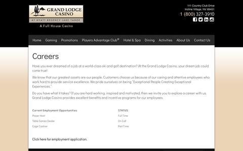 Screenshot of Jobs Page grandlodgecasino.com - Grand Lodge Casino at Hyatt Regency Lake Tahoe - Careers - captured May 22, 2017