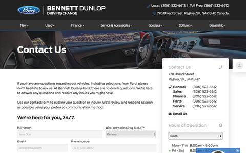 Screenshot of Contact Page bennettdunlopford.com - Contact Us | Bennett Dunlop Ford - captured Aug. 17, 2019