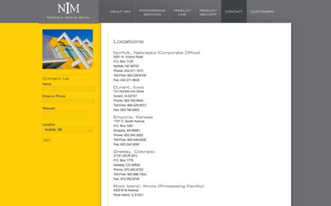 Screenshot of Locations Page norfolkiron.com - NIM - Norfolk Iron & Metal - Solutions. Service. Delivered. - captured Oct. 7, 2014