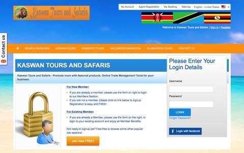 Screenshot of Login Page kaswantoursandsafaris.com - Frontend-Login - captured Jan. 9, 2016