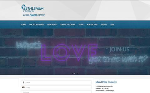 Screenshot of Contact Page bethlehembc.com - Contacts  |  Bethlehem Church | Gastonia / Belmont / Bessemer City N.C.  | a contemporary church in Gastonia NC - captured Oct. 5, 2014