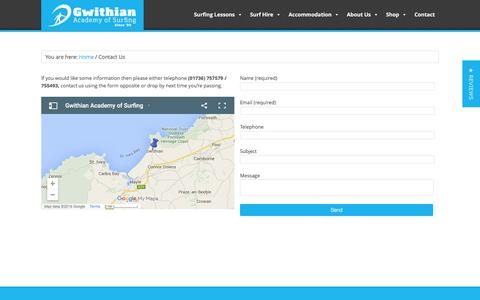 Screenshot of Contact Page surfacademy.co.uk - Contact Us at Gwithian Academy of Surfing - captured Feb. 2, 2016
