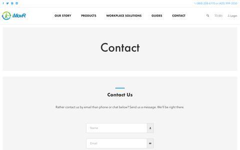 Screenshot of Contact Page imovr.com - Contact - captured Sept. 23, 2018