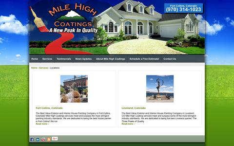 Screenshot of Locations Page milehighcoatings.com - Locations | Mile High Coatings - captured Feb. 22, 2016