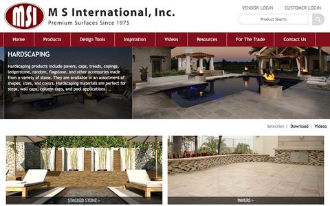 Screenshot of msistone.com - Hardscape Tiles | Hardscaping Stone | M S International, Inc. - captured March 19, 2016