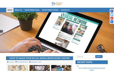 Screenshot of Home Page prepared-media.com - Prepared Media | Make Your Social Media News Work Faster - captured Feb. 26, 2018