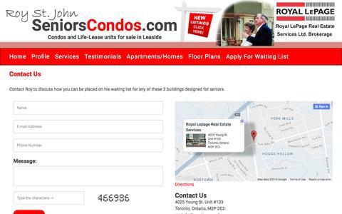 Screenshot of Contact Page seniorscondos.com - Seniors Condos - captured Oct. 21, 2016