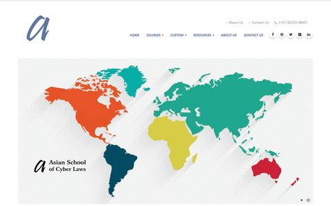 Screenshot of Home Page Site Map Page asianlaws.org - Homepage: Asian School of Cyber Laws - captured Sept. 17, 2016