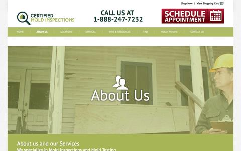 Screenshot of About Page Locations Page findingthemold.com - Mold Inspections in NJ, NY, PA, FL, CT | Certified Mold Inspections - captured Oct. 22, 2014