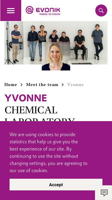 Screenshot of Team Page  evonik.com - Yvonne                                                                - Evonik Careers