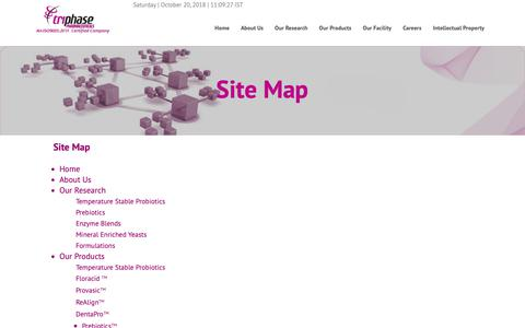 Screenshot of Site Map Page triphasepharma.com - Triphase-Site_Map - captured Oct. 20, 2018