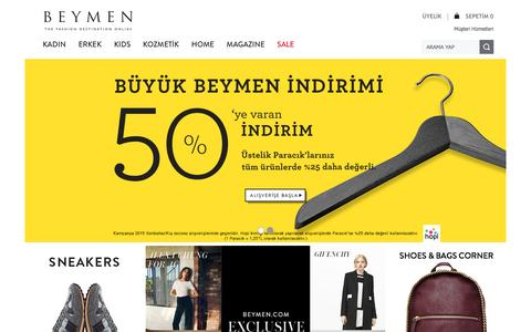 Screenshot of Home Page beymen.com - Beymen.com – The Fashion Destination Online - captured Jan. 1, 2016