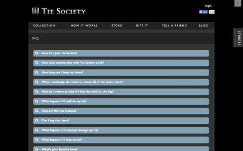 Screenshot of FAQ Page tiesociety.com - Tie Society - FAQ - captured Oct. 9, 2014