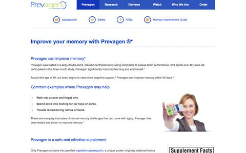 Screenshot of About Page prevagen.com - Improve your memory : Prevagen is clinically shown to improve memory - captured Oct. 28, 2014