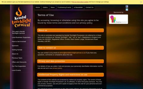 Screenshot of Terms Page kendaltorchlightcarnival.co.uk - Terms of Use   Kendal Torchlight Carnival - captured Sept. 30, 2014