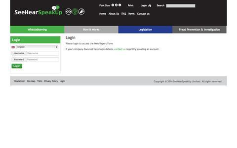 Screenshot of Login Page seehearspeakup.co.uk - Login - captured Oct. 29, 2014
