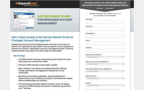 Screenshot of Landing Page beyondtrust.com - Privilege Account Management, Gain instant access to the Gartner Market Guide for Privileged Account Management | BeyondTrust - captured Oct. 27, 2014