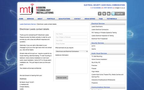 Screenshot of Contact Page m-t-i.co.uk - Electrician Leeds contact details - captured Oct. 2, 2014