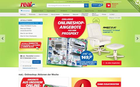 Screenshot of Home Page real.de - real,- Angebote im Onlineshop finden & günstig kaufen - captured Jan. 13, 2016