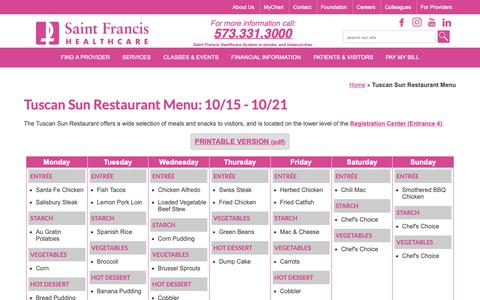 Screenshot of Menu Page sfmc.net - Tuscan Sun Restaurant Menu - Saint Francis Healthcare - captured Oct. 20, 2018