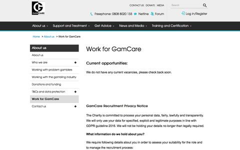 Screenshot of Jobs Page gamcare.org.uk - Work for GamCare | GamCare - captured July 2, 2018