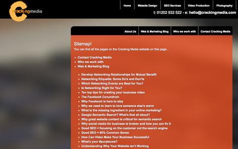 Screenshot of Site Map Page crackingmedia.com - Cracking Media Website Sitemap - captured Sept. 30, 2014