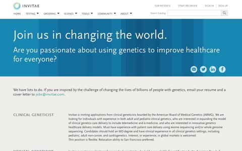 Screenshot of Jobs Page invitae.com - Invitae | Job postings for a career improving healthcare through genetics - captured Sept. 16, 2014