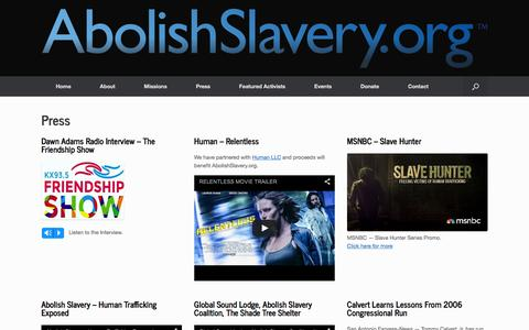 Screenshot of Press Page abolishslavery.org - Press - Abolish Slavery - captured Feb. 5, 2016