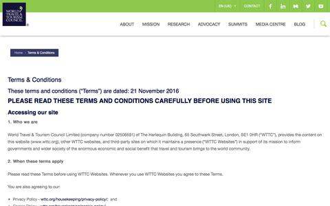 Screenshot of Terms Page wttc.org - Terms & Conditions | WTTC - captured Oct. 30, 2017