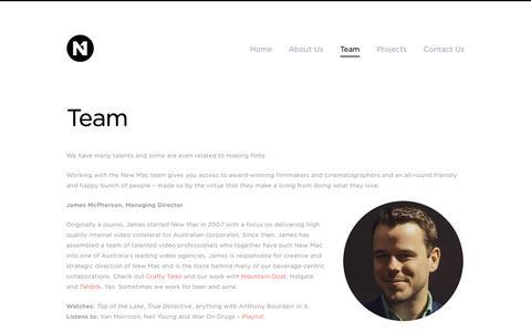 Screenshot of Team Page newmcpherson.com - Team | New McPherson Video Agency - captured Nov. 5, 2014