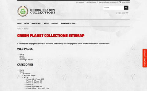 Screenshot of Site Map Page greenplanetcollections.com - Green Planet Collections Sitemap - captured Feb. 5, 2016