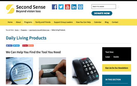 Screenshot of Products Page second-sense.org - Daily Living Products | Second Sense - captured July 18, 2018